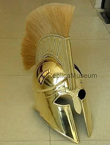 NauticalMart Brass Greek Corinthian Armor Helmet W/Plume