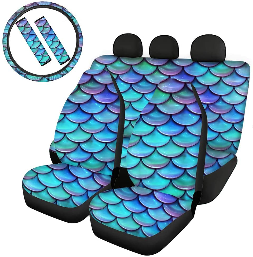 CLOHOMIN 7 Pieces Fish Scales Mermaid Car Accessories Set,Included Car Cover Combo, Steering Wheel Cover,Seat Belt Covers Adorable Gift