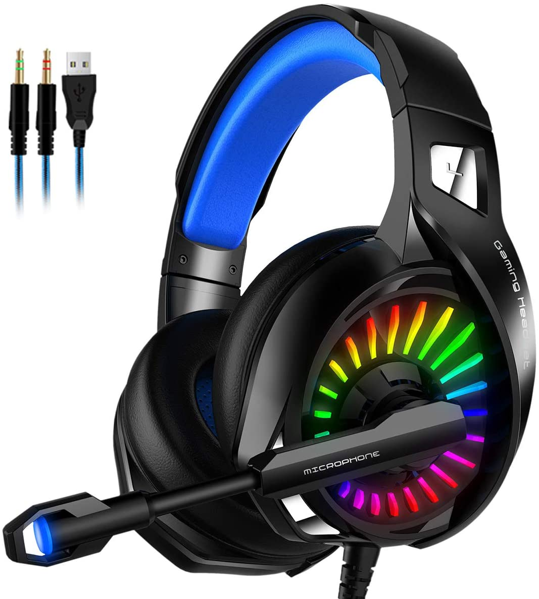 Haokaini Stereo Gaming Headset, Over Ear Headphones with Mic, LED Light, Bass Surround, Noise Cancelling, Soft Memory Earmuffs Compatible with PS4 PC Xbox One Controller Laptop Nintendo Switch Games