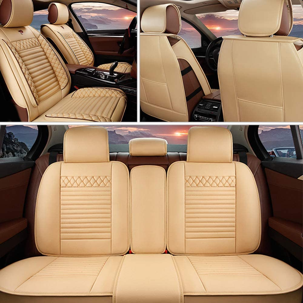 MyGone Car Seat Covers for Jeep Renegade Leather Protector, Front + Rear 5 Seat Full Set - Breathable Soft Cushion Waterproof - Universal for Sedan SUV Truck Cream Color