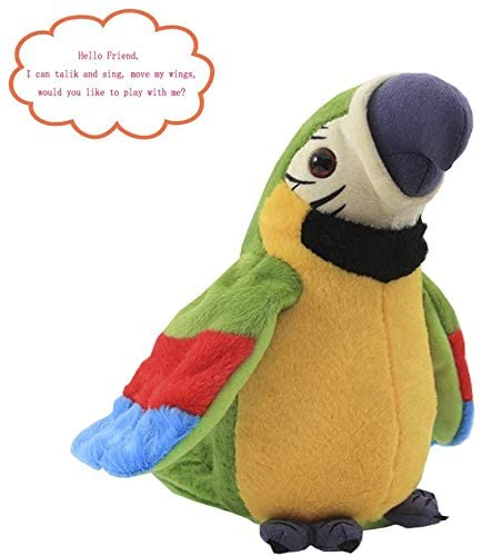 Talking Macaw Parrot Repeat What You Say Stuffed Animal Plush Toy Electronic Record Animated Bird Shake Wings Speaking Parrot Pet Plush Interactive Toys for Kids Boys Girls Christmas Birthday Gift