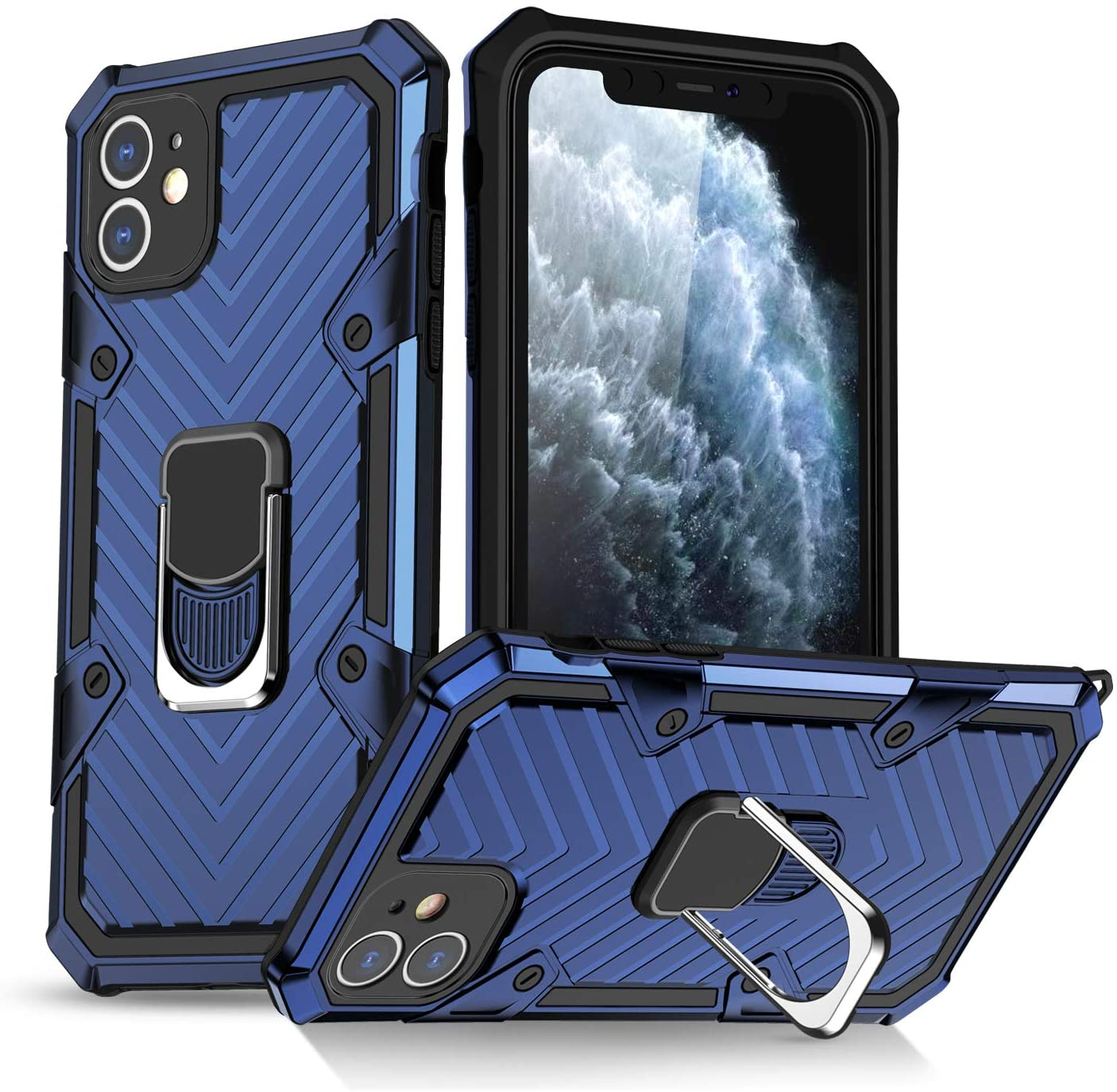 FRIX Lightning Armor Phone Case | for iPhone 11 | Car Magnetic Plate | Blue