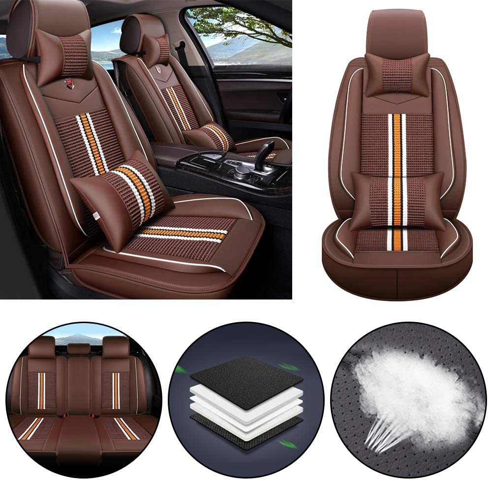 Jiahe Car Seat Cover for Toyota 86 IZOA REIZ Prius Mirai Matrix Tacoma Universal Car Seat Protectors 5-Seat Full Set Artificial Leather Waterproof,Easy Install,Lafite Red Deluxe2
