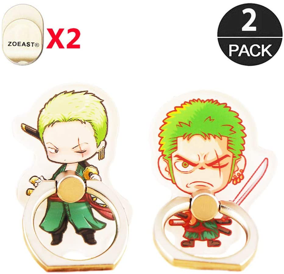 ZOEAST(TM) 2 Pack Cartoon One Piece Phone Ring Grip Universal 360° Adjustable Holder Car Desk Hook Stand Stent Mount Kickstand Compatible with iPhone Samsung iPad Tablet (2pcs Roronoa Zoro)