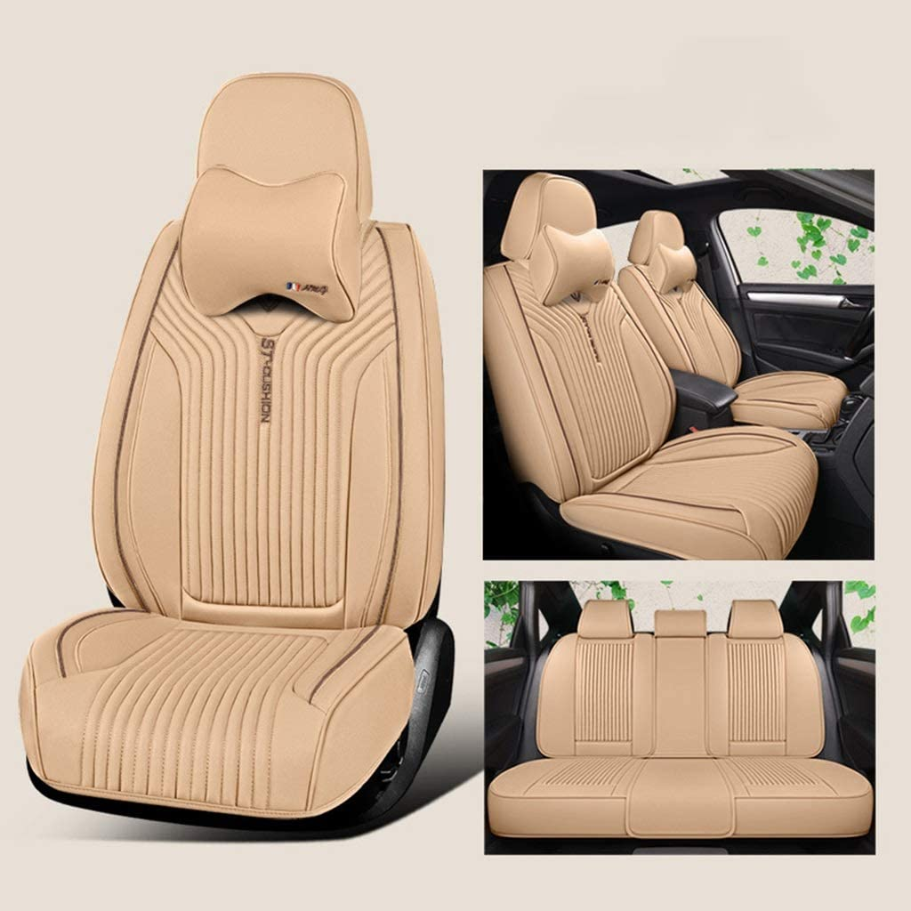 Makango Car seat Cushion PU Leather Seat Cover for 5-seat Car Universal Comfortable Breathable for The Four Seasons, Automotive Interior Accessories (Color : H)