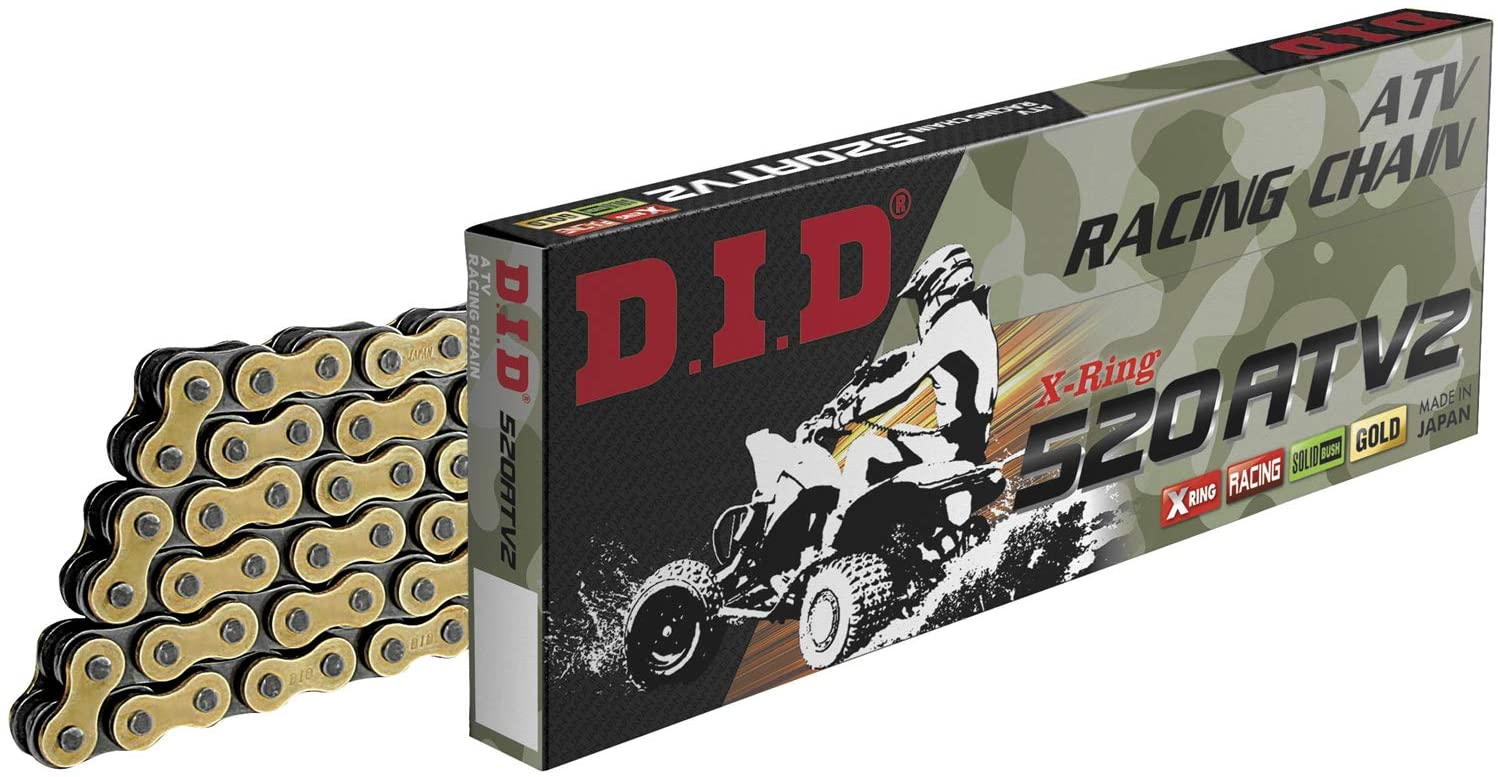 DID 520ATV2-100 Gold 100 Links High Performance X-Ring ATV Chain with Connecting Link