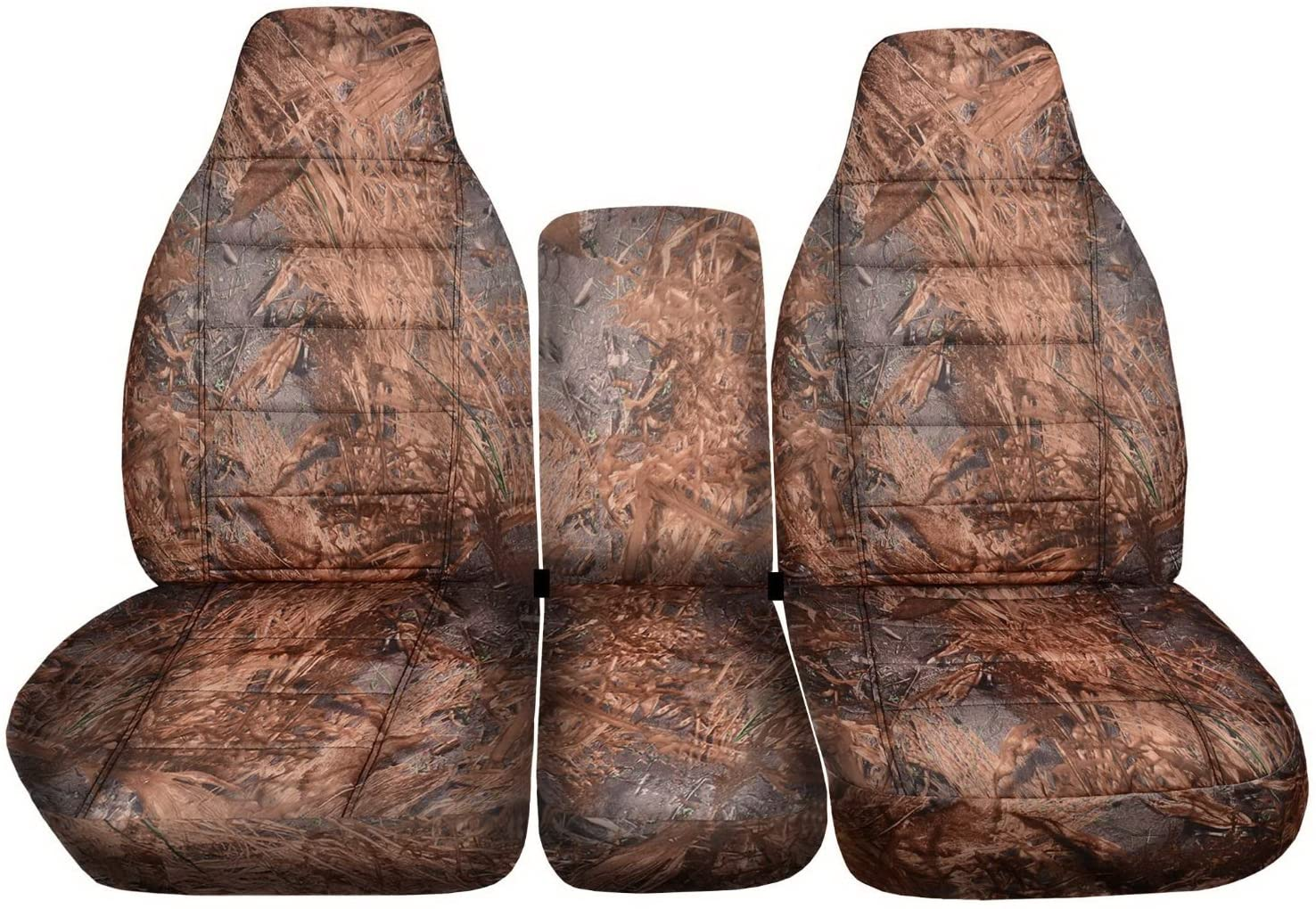 Totally Covers Compatible with 1994-2002 (2nd Gen) Dodge Ram Camo Truck Seat Covers (40/20/40 Split Bench) w Center Console - Front: Reeds (16 Prints) w/wo Integrated Belts