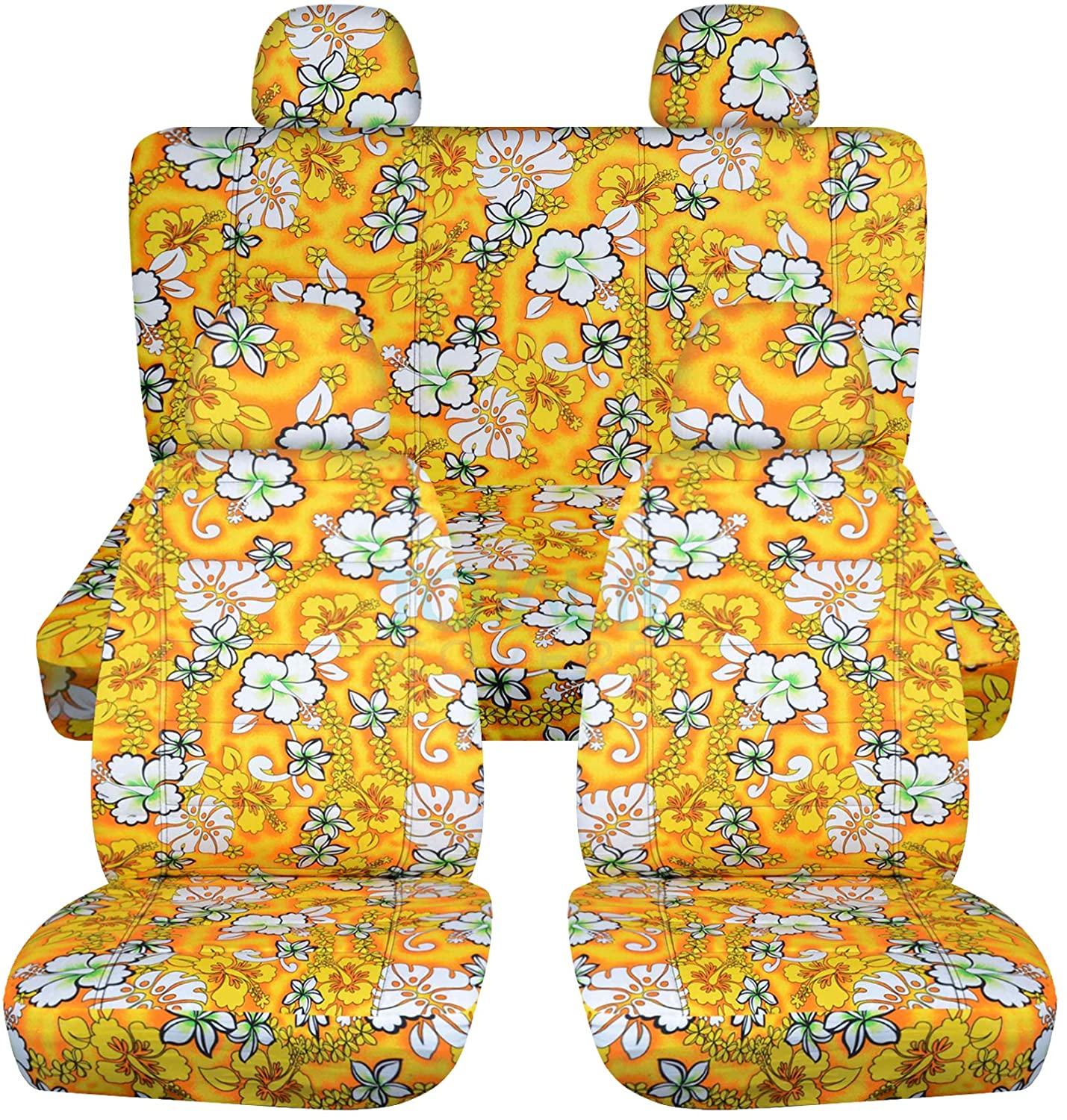 Totally Covers Hawaiian Print Car Seat Covers w 4 (2 Front + 2 Rear) Headrest Covers: Yellow w Flowers - Semi-Custom Fit - Full Set - Will Make Fit Any Car/Truck/Van/RV/SUV (6 Prints)