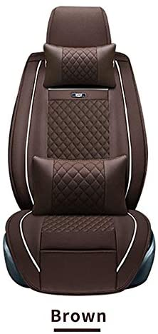 Muchkey Leatherette Car Seat Cover Adjustable Fit for Nissan Skyline V36 Sedan Full Set 5-Seats Front+Rear Cushion,Airbag Compatible Coffee
