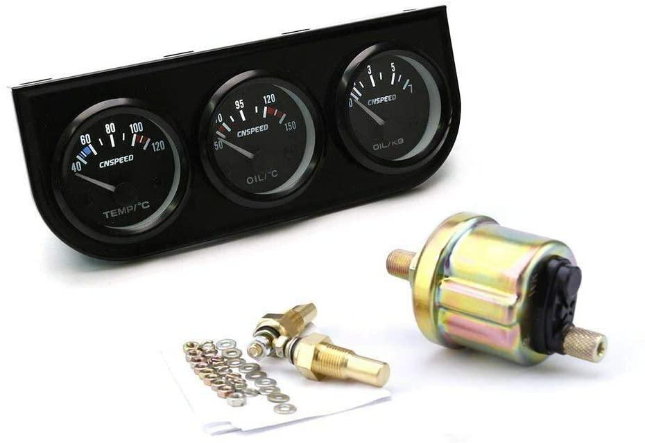 MASO 2'' Inch 52mm Oil Temp Oil Pressure Volts Triple Gauge 3in1 Kit Black