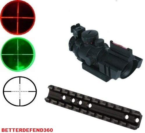 GOTICAL Marlin Rifle Deluxe Weaver Picatinny Rail Scope Sight Mount + Tactical 4x32 Red/Green P4 Rangefinder Reticle Scope with Top Fiber Optic Sight