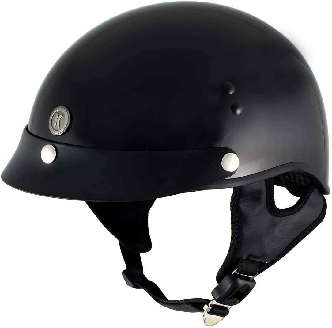 Klutch K-3 'Cruise' Gloss Black Half Face Motorcycle Helmet with Snap On Visor - X-Large