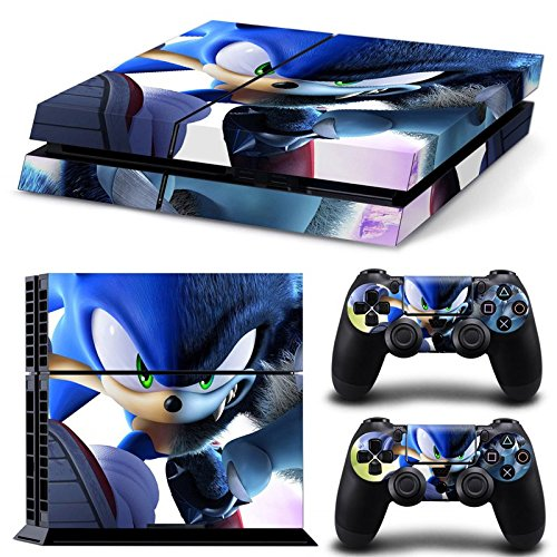 ZOOMHITSKINS PS4 Console and Controller Skins, Sonic Hedgehog, Durable, Bubble-Free Goo-Free, 1 Console Skin 2 Controller Skins, Made in USA