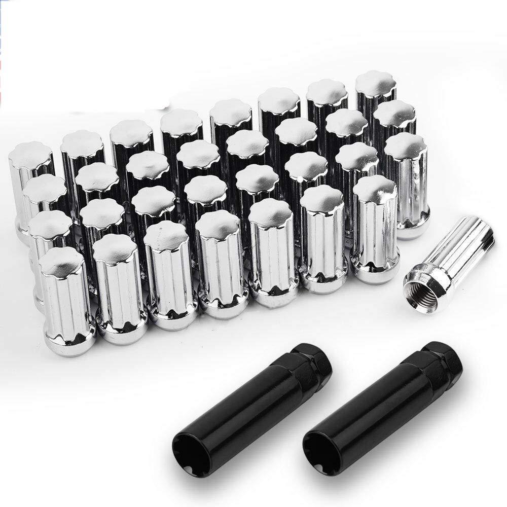 SHENGYAWAUTO 32 PCS Chrome Spline 14x1.5 Lug Nuts for 8 Lug Chevy GMC 2500 3500 Duramax Diesel