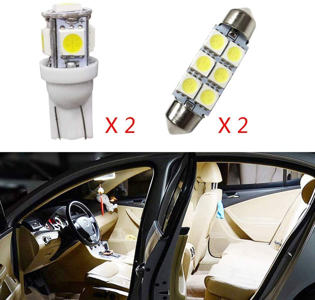 for KIA VQ Car Interior LED Bulb Super Bright Extremely Bright Lights Replacement Bulbs for Map Dome Door Courtesy License Plate White 4Pcs