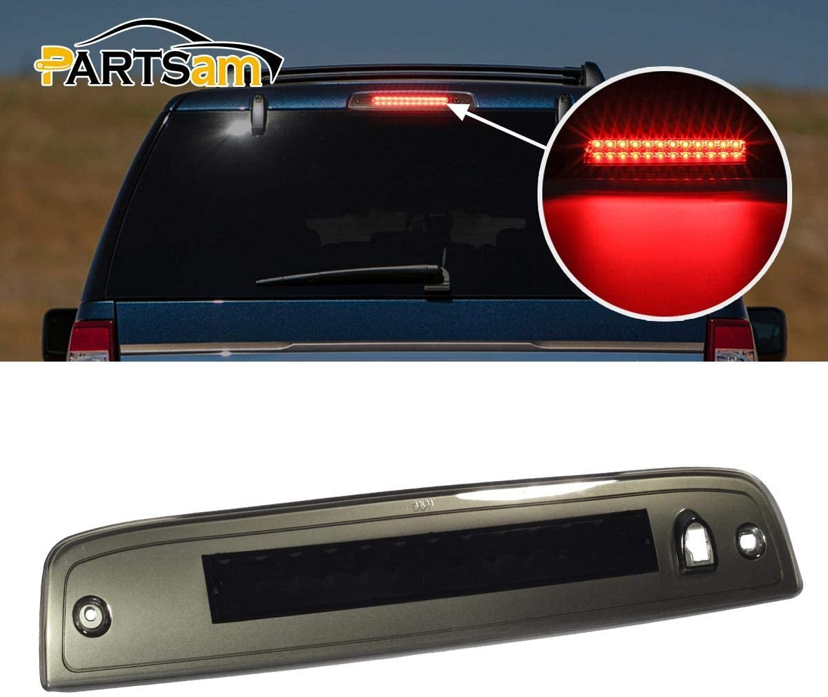 Partsam High Mount Stop Light Third 3RD Brake Light Replacement for Expedition and Lincoln Navigator 2003-2016 Rear Top Roof Cab Center Mount Stop Tail Light Lamp (Black Housing Smoke Lens)