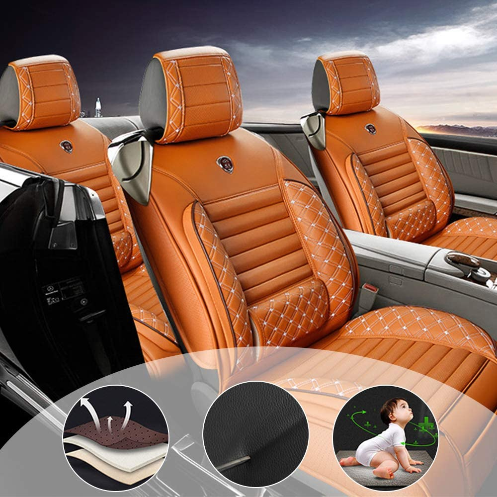 changlaiwang All Weather Custom Fit Seat Covers for Nissan Juke Murano Pathfinder Armada 5-Seat Compatible with Airbags Car Seat Covers Ultra Breathable with Lumbar Cushion Orange Full Set
