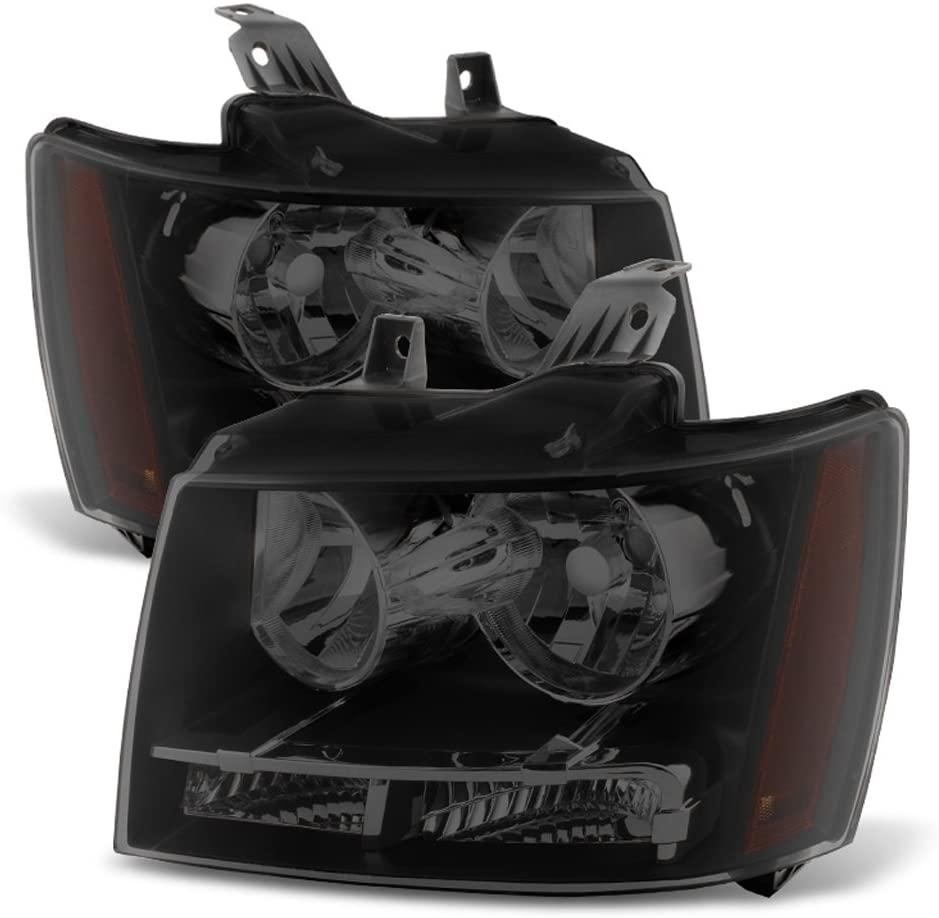 ACANII - For Black Smoke 07-13 Chevy Avalanche/Suburban/Tahoe Headlights Headlamps Driver + Passenger Side