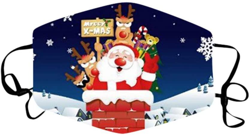 Adults Cotton Christmas Printed Face Bandana_Covering_MASK for Women, Unisex Reusable Fashionable Teachers Face Bandanas Washable Breathable Seamless Outdoor