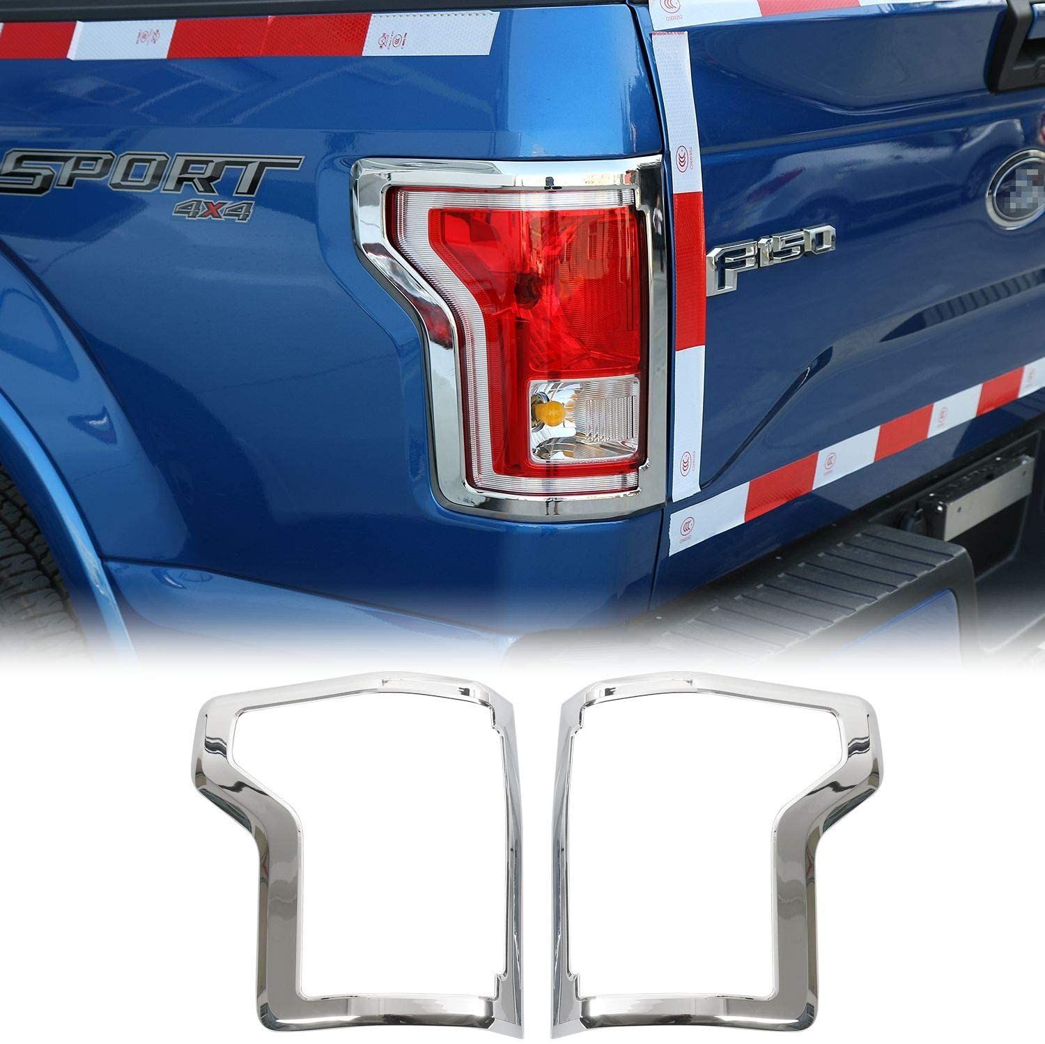 Car ABS Rear Tail Light Lamp Bezel Cover Trim Frame for Ford F150 2016 2017 (Chrome)