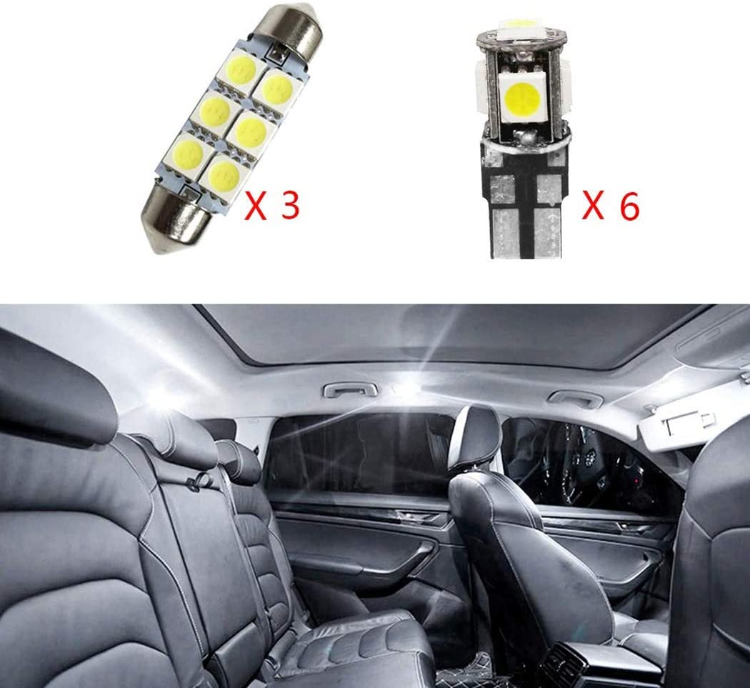 for Audi A6 A7 2012 Car Interior Light Bulbs LED Dome Lights Map Compact Wedge Xenon Super Bright Chipsets Replacement Bulbs White 9Pcs