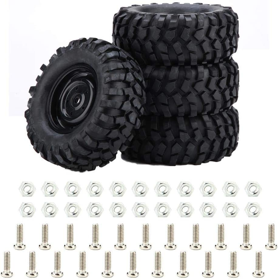 Dilwe RC Car Tires, 4 Pcs Tires Rubber Tyres for 1:10 Rock Crawler Off-Road RC Remote Control Car Accessory Part