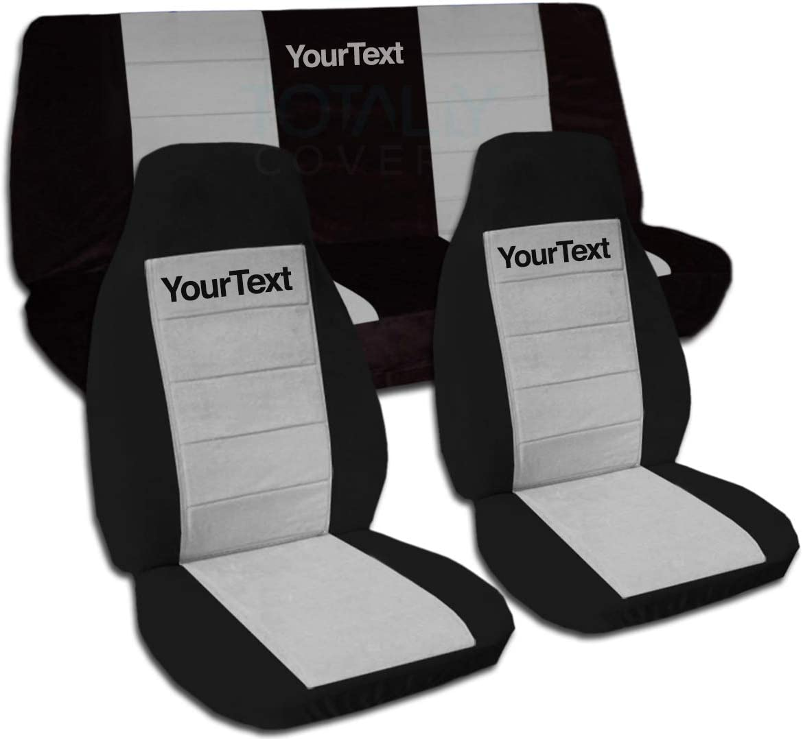 Totally Covers Compatible with 1997-2006 Jeep Wrangler TJ Two-Tone Seat Covers w Your Name/Text: Black & Gray - Full Set: Front & Rear (21 Colors) Complete Bench