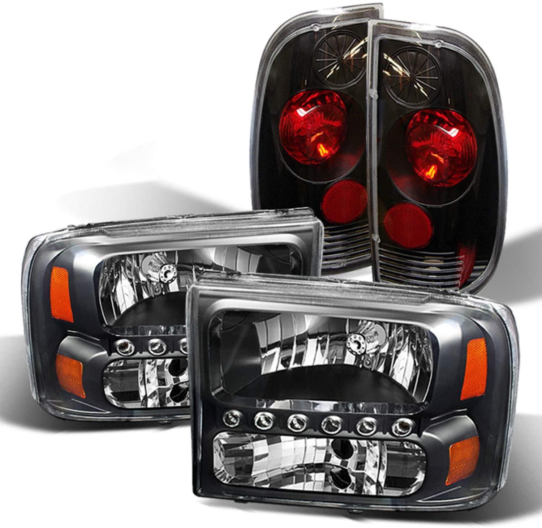 Fits 1999-2004 Ford F250 F350 F450 F550 Superduty Black LED Headlights + Blk Tail Lamp Brake Lights Pair Left+Right