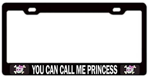 Jseng US Princess Girly Black Aluminum Metal License Plate Frame Auto Tag Holder Custom Car Accessories for US Standard for Women/Girls