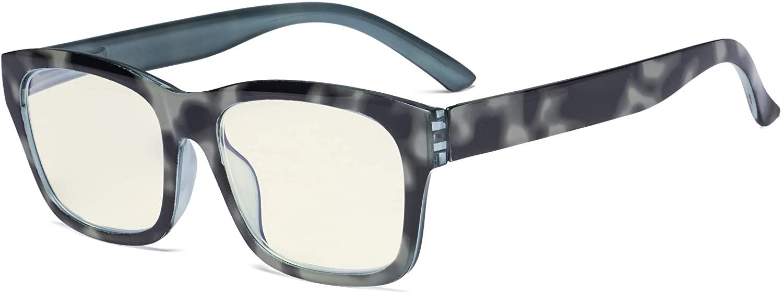 Eyekepper Blue Light Filter Glasses Men Women - UV420 Protection Large Square Frame Computer Reading Glasses Anti Screen Glare Blue Ray - Black/Grey +1.00
