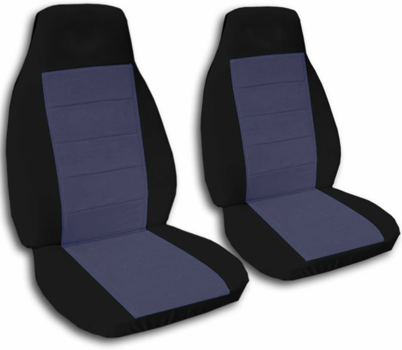 Totally Covers Compatible with 1992-1998 Ford F-150 F-250 F-350 Two-Tone Truck Seat Covers (Captains Chairs/Buckets) w/wo Armrests: Black & Blue Gray (21 Colors) F-Series F150 F250 F350
