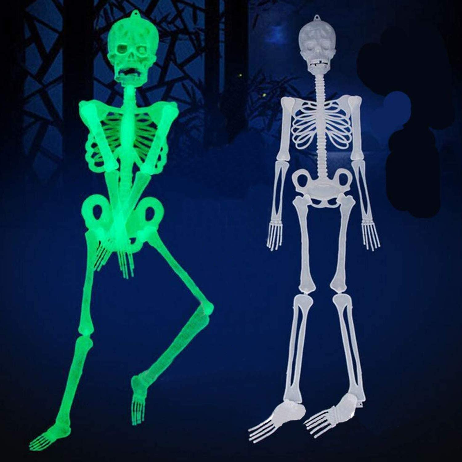 Luminous Skull Skeleton,Halloween Skull Toy Skeleton Body Scary Haunted House Tricky Toy for Halloween Party Props Decoration (1Pack-30CM)