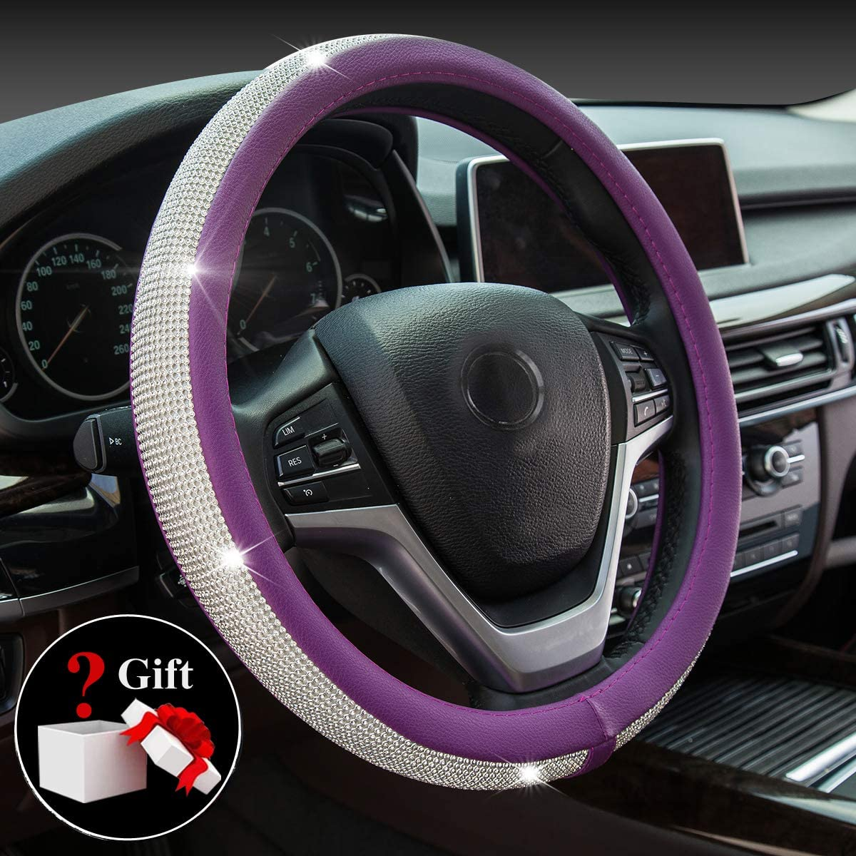 New Diamond Leather Steering Wheel Cover with Bling Bling Crystal Rhinestones, Universal Fit 15 Inch Anti-Slip Wheel Protector for Women Girls,Purple