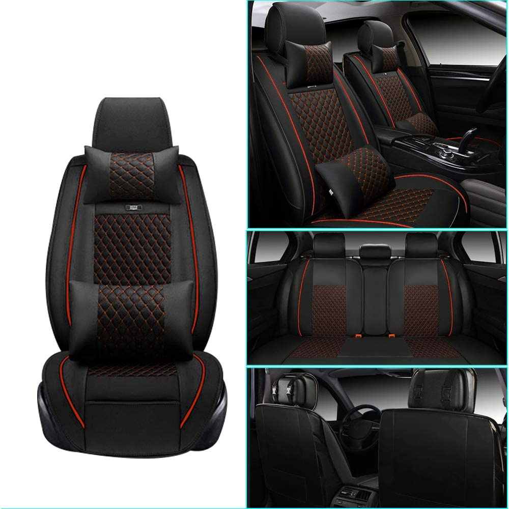 Car Seat Cover for Subaru XV Crosstrek Hybrid Front+Rear Seats Protector Covers Waterproof Soft PU Leather Cushion 5-Seater Car Pad Rhombus Red 9PCS