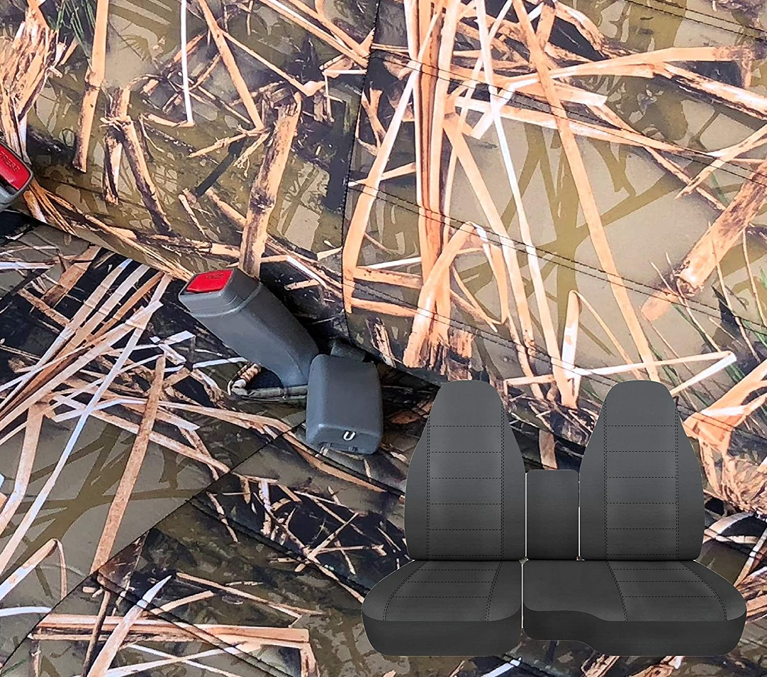 RealSeatCovers A78 Regular Cab RCab 60/40 Split Bench Seat Cover Molded Headrest for Ford Ranger 1998-2003 (1999, Muddy Water Camo)