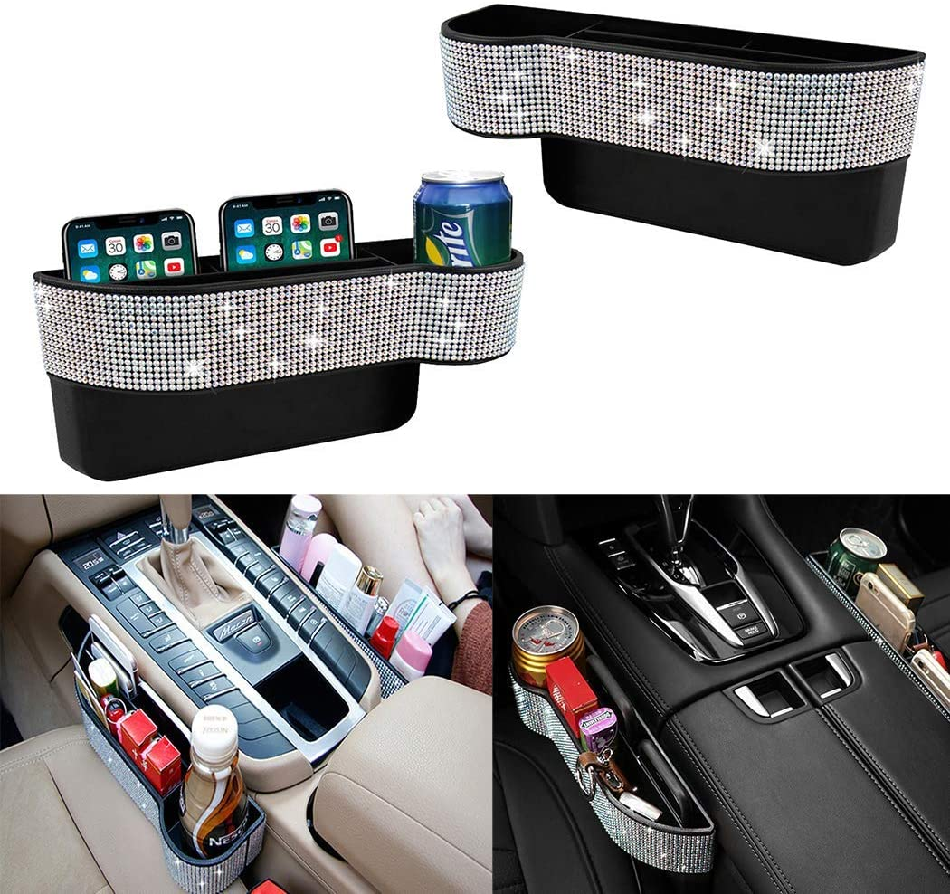 QINU Bling Bling Car Seat Gap Filler, Car Seat Console Pockets Organizer Caddy Catcher, Crystal Auto Console Side Pouchs for Cellphone Wallet Coin Key Credit Card (Driver Side & Passenger Side)