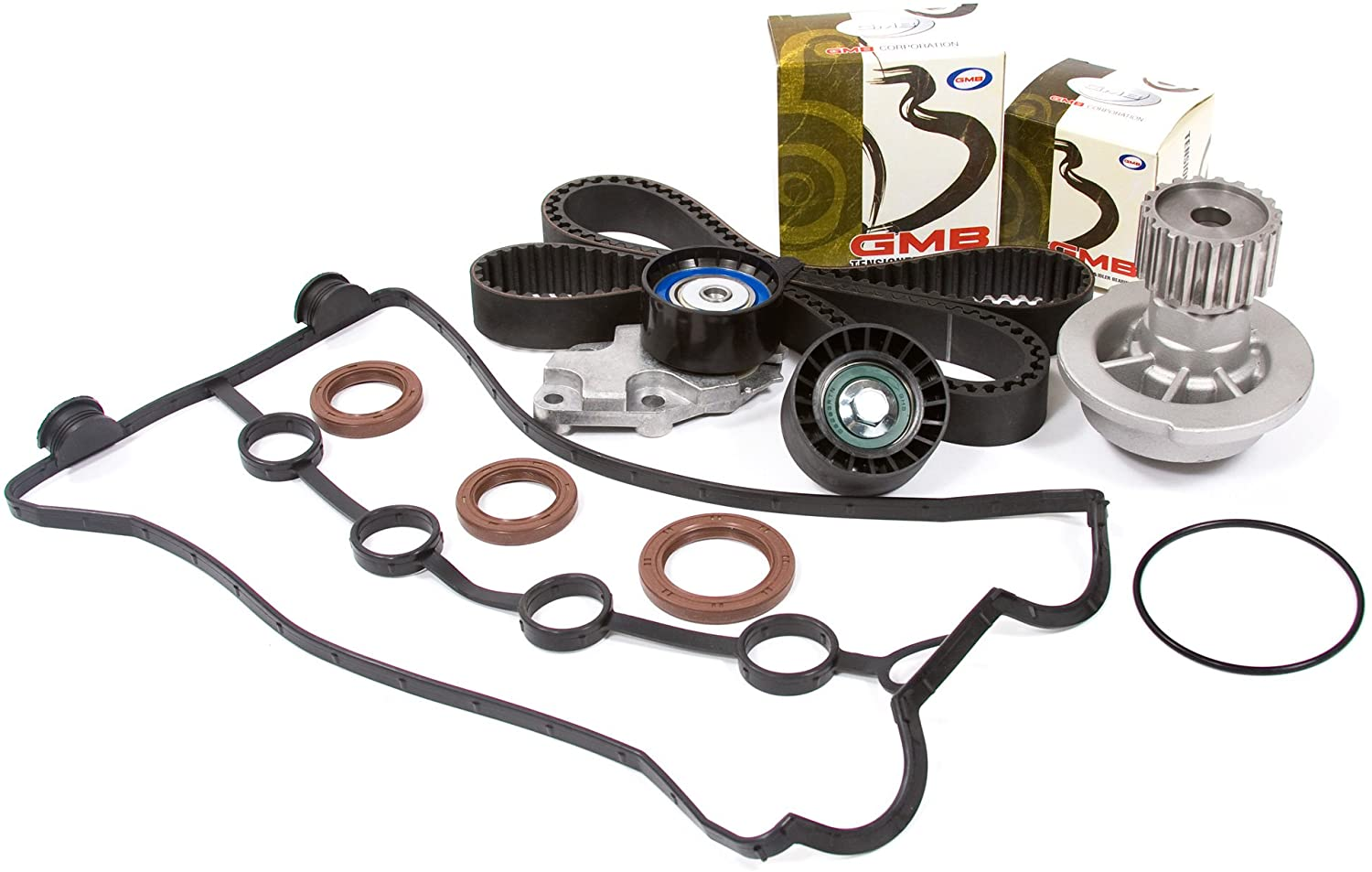 Evergreen TBK335VCT Compatible With 04-08 Chevrolet Aveo 1.6L E-TEC II VIN 6 Timing Belt Kit Valve Cover Gasket Water Pump