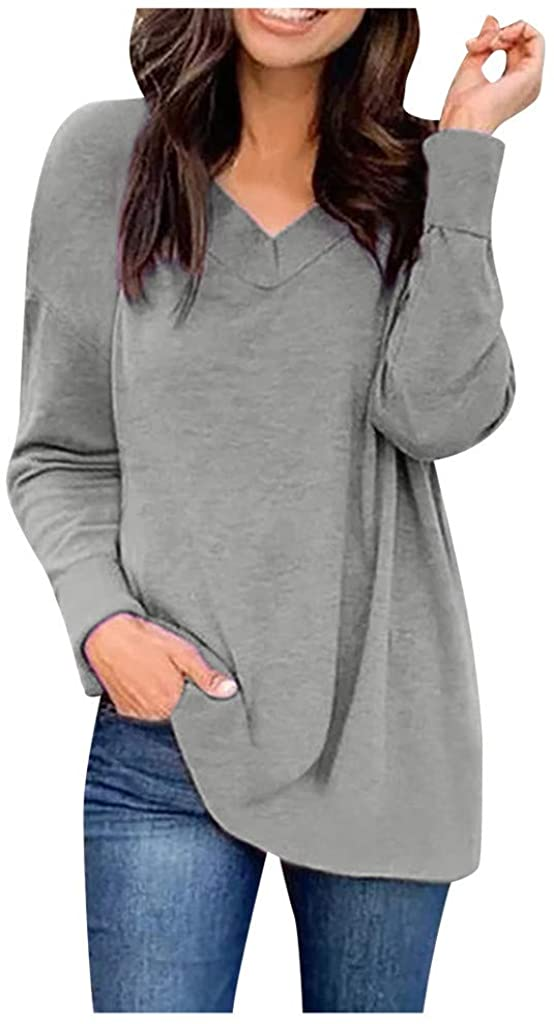 Smileyth Women Long Sleeve Tunic Blouse Fashion Ladies Solid Color V-Neck Casual Relaxed Fit Pullover Tops Fall Winter Soft Comfortable Bottoming T-Shirts