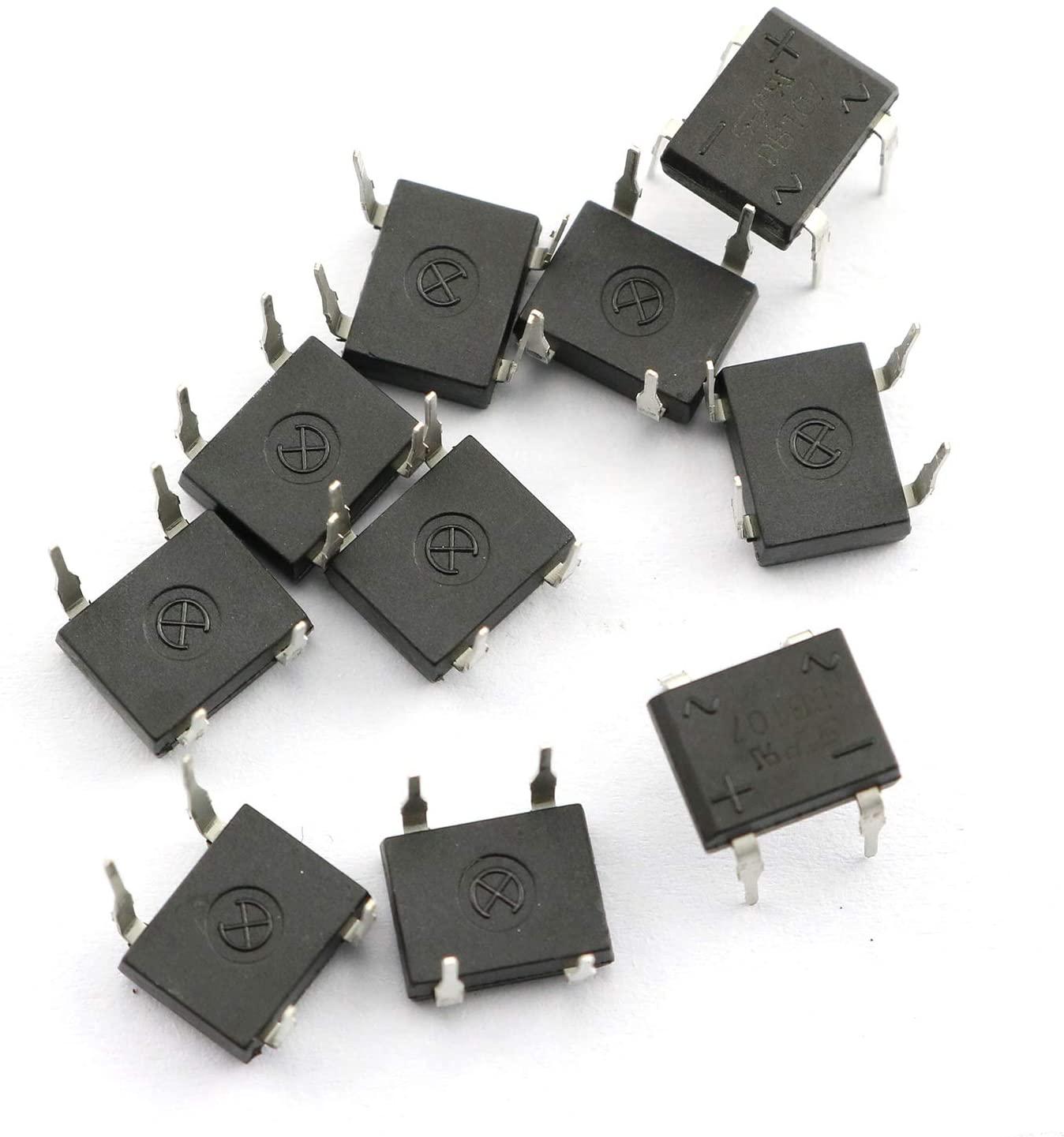Tegg DB107 Bridge Rectifier 10PCS Electronic Silicon Diodes 1A 1000V 4-Pin Single Phase Diode Rectifier Bridge