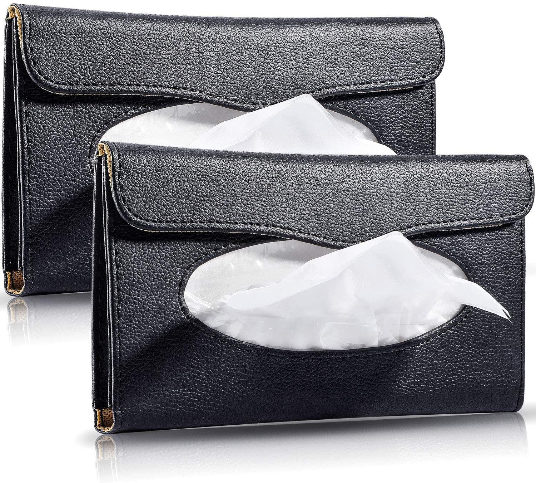 BBTO 2 Pack Car Tissue Holder Sun Visor Napkin Holder Car Visor Tissue Box Holder PU Leather Backseat Tissue Case for Car Vehicle Tissue Refill Supplies
