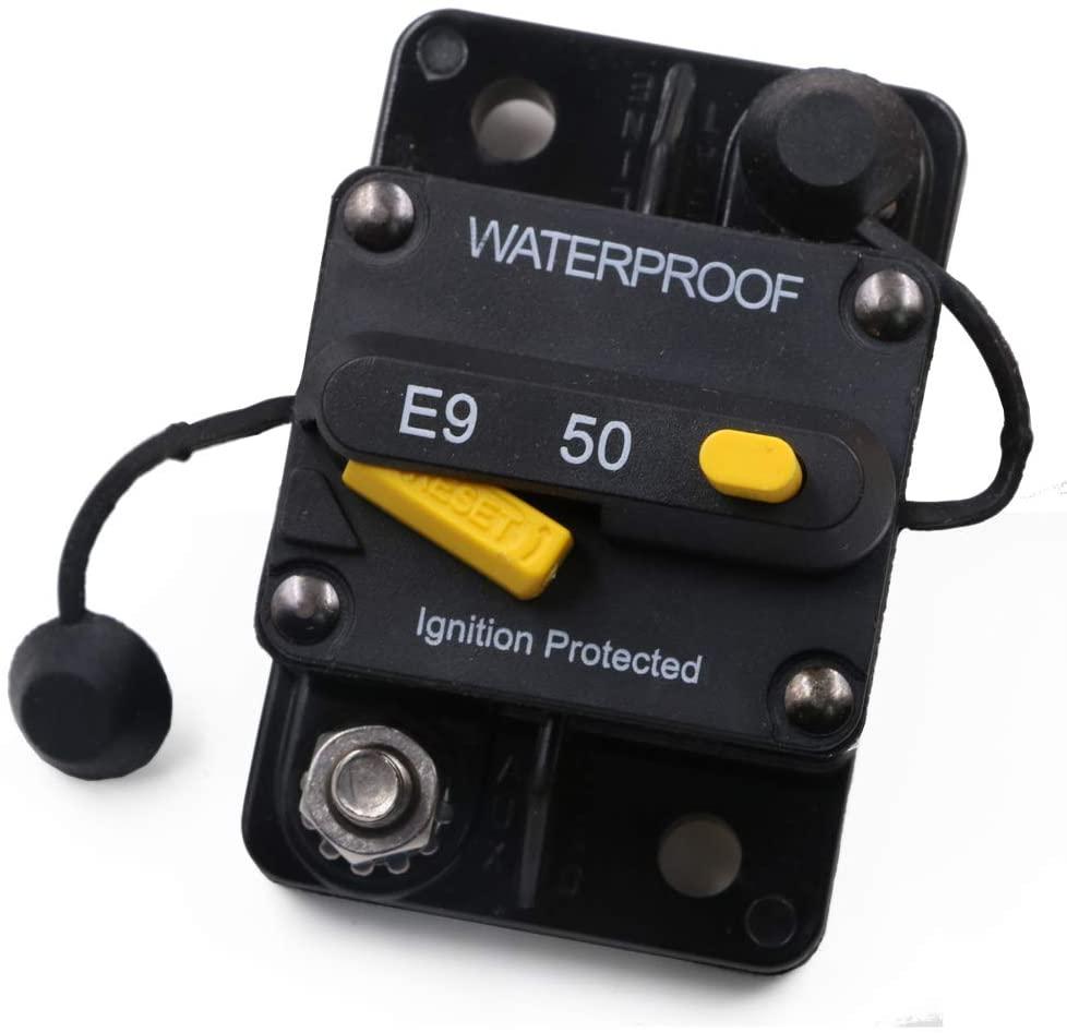 Gloaso 50 Amp Manual Reset Circuit Breaker 12V 24V 48V 72V DC Automotive 50A Breaker Switch Type III for Boat Trucks RV Marine