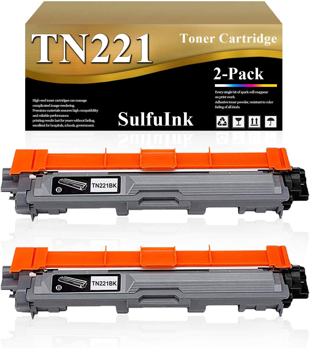 Compatible TN221 Toner Cartridge (Black, 2-Pack) Replacement for Brother HL 3140CW 3170CDW 3150CDN 3180CDW DCP 9015CDW 9020CDN MFC 9140CDN 9130CW 9330CDW 9340CDW Laser Printer.