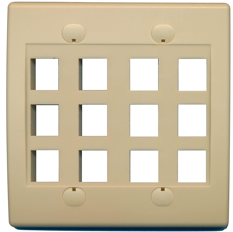 RiteAV - Keystone Wall Plate Double Gang 12-Port (1 Piece Flush) - Ivory