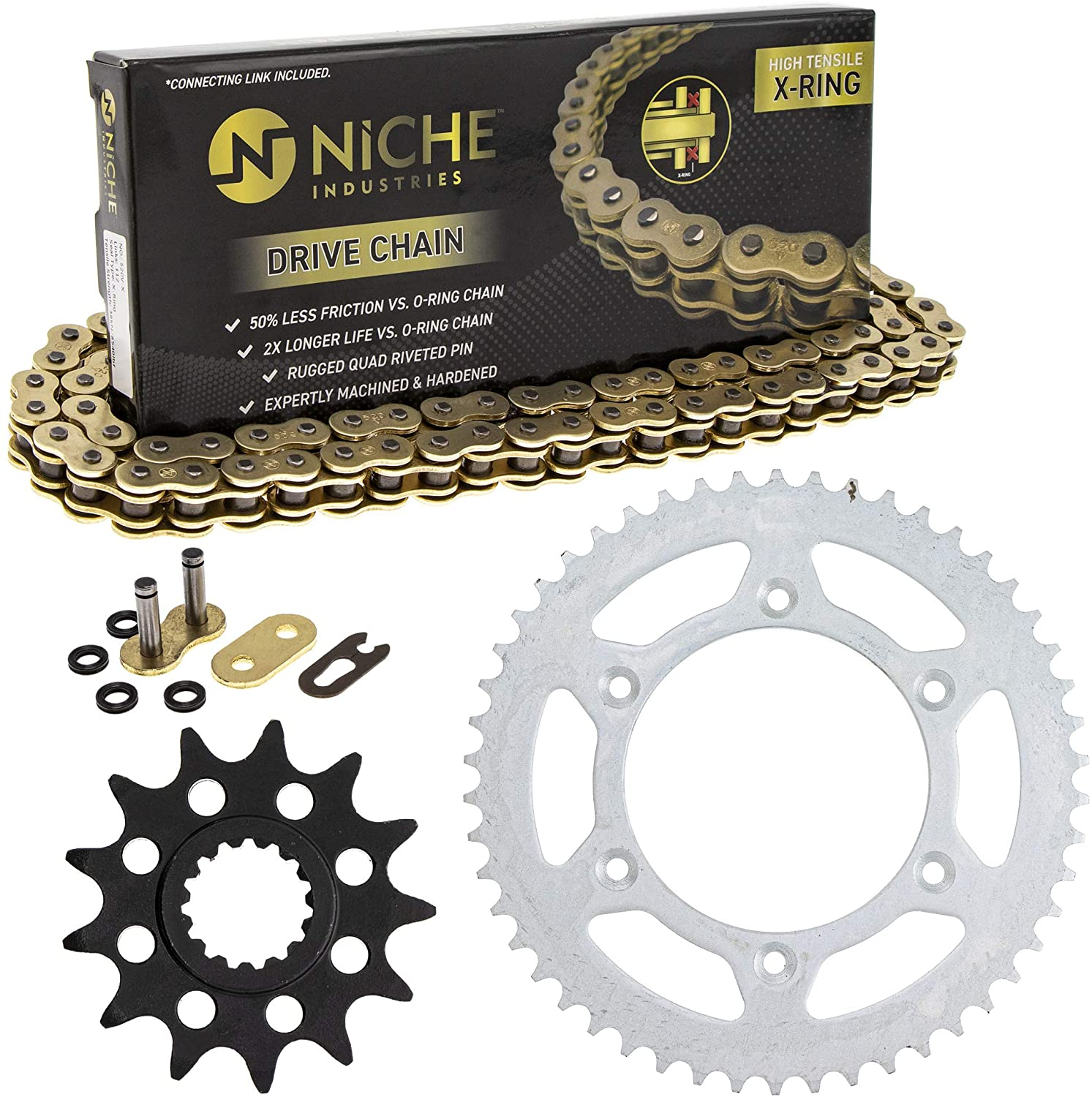 NICHE Drive Sprocket Chain Combo for KTM 250 EXC SXS 300 EXC 125 SX SXS Front 13 Rear 50 Tooth 520V-X X-Ring 118 Links