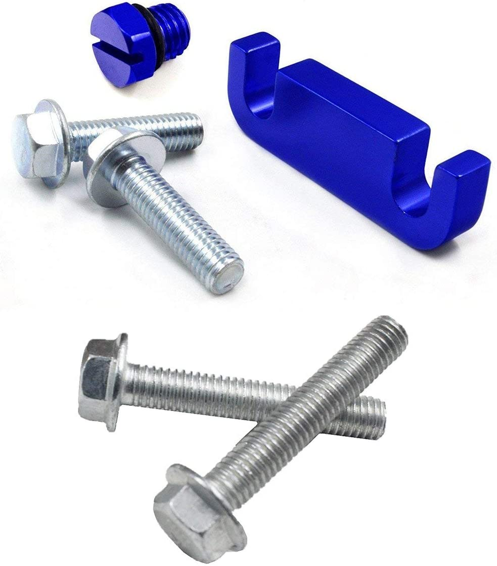 iFJF Fuel Filter Head Housing Spacer, Air Bleeder Screw and 4pcs Bolts -for Duramax 2001-2017 (Blue)