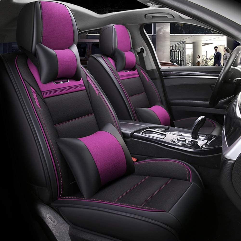 YUYE Linen & Leather 5 Seats Car Seat Cover Full Set Comfortable Breathable for Year-Round Use (Color : Purple)