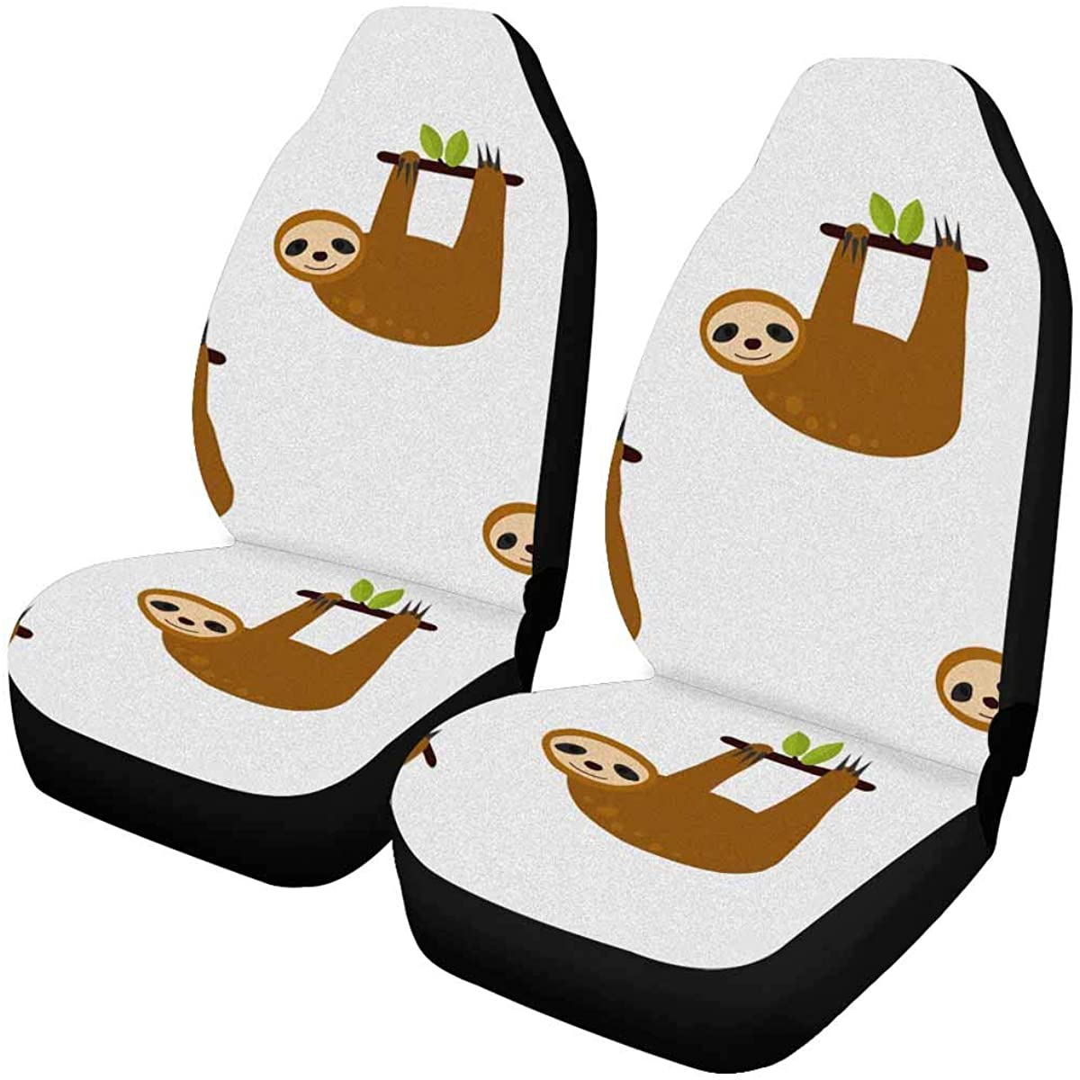 INTERESTPRINT Sloth on The Tree Front Car Seat Covers Set of 2, Car Front Seat Cushion Fit Car, Truck, SUV or Van