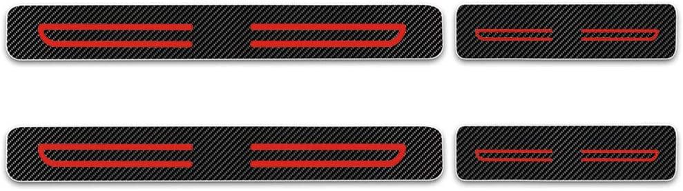 for Citroen Picasso Elysee Nemo Berlingo C4 4D Carbon Fiber Car Scuff Plate Door Sill Sticker Red 4Pcs