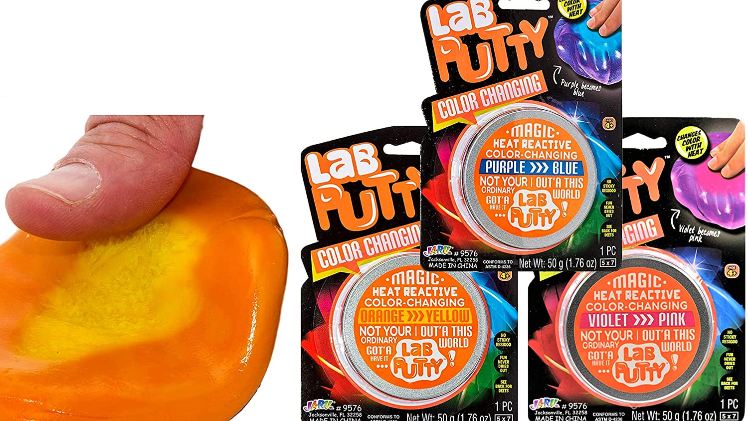 JA-RU Lab Putty Color Changing Heat Sensitive Bouncing (3 Units Assorted) Putty for Kids Best Thinking Silly Smart Crazy Stress Relief Putty with Tin, Sensory Toys Party Favor for Kids 9576-3p