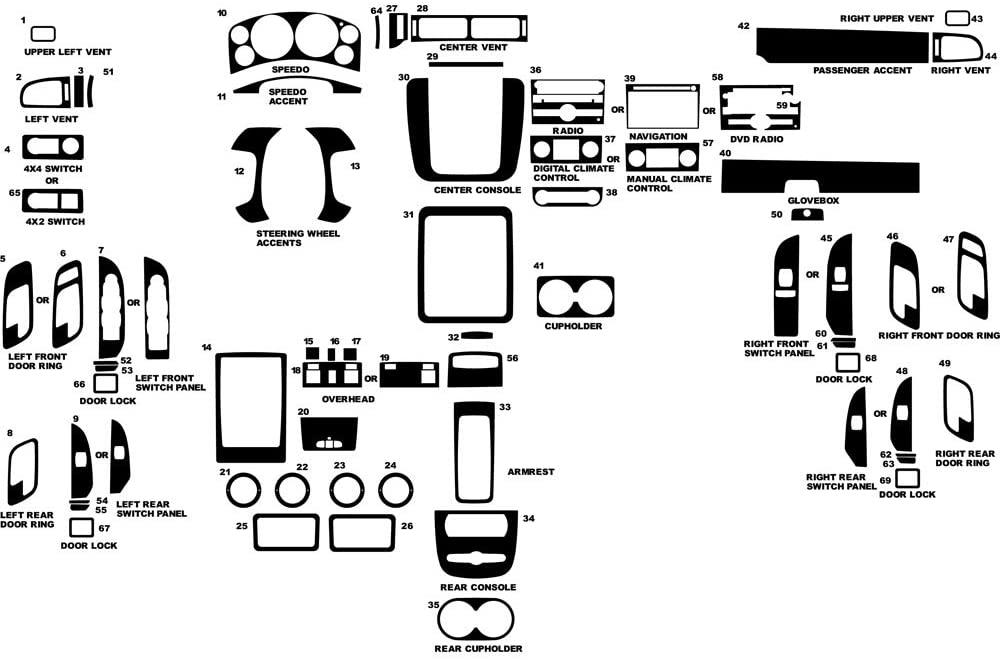 Rvinyl Rdash Dash Kit Decal Trim for Chevrolet Avalanche 2007-2012 - Carbon Fiber 4D (Silver)